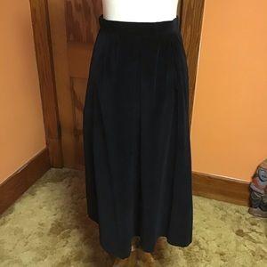 Vintage 70s dressy black velvet A line skirt